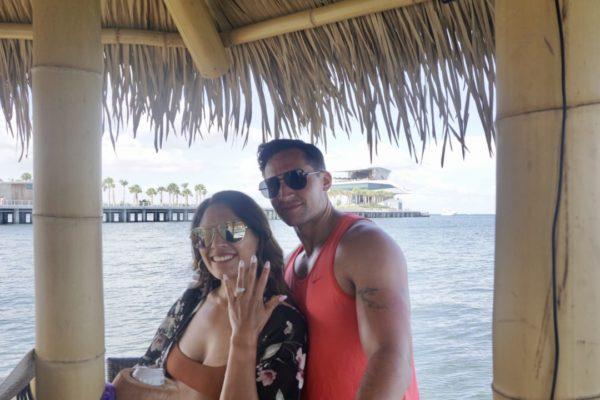 Couple engaged on Cruisin Tiki